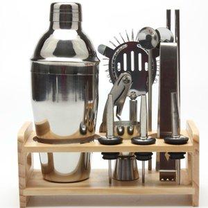 12pcs Drink Shaker Wine Jug Professional Bartender Tool Set Cocktail Mixer For Kitchen Brewing Wooden Rack Bar Kits Browser