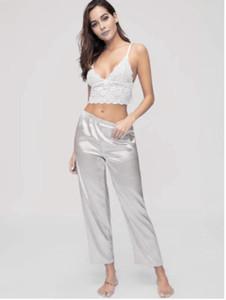 Yeni Kadın Seksi Dantel Sütyen + Saten Pantolon İpek Pajama pijamalar Babydoll Gecelik