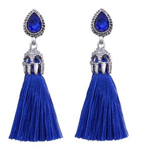 Schmuck CottonTassel Ohrringe für Frauen Waterdrop GemstoneTassel Ohrringe böhmischen Stile passen alle baumeln Ohrringe
