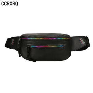 CCRXRQ Mulheres cintura sacos Handy Belt Bag 2019 Senhora de Moda de Nova Unisex Couro Bloco de Fanny Belt Black Pack Crossbody Peito Bag