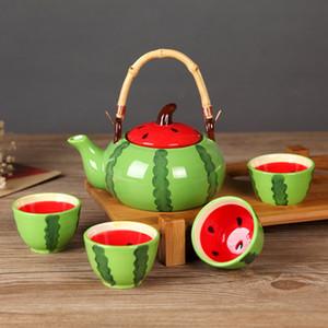 5pcs set Ceramic Tea Set Kung Fu Cup T Watermelon Tea Set Drinkware Set Fruit Shape Teapot Suit