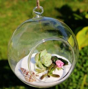 Cam Globe Şekli Vazo Çiçeği Asma% 100 Yeni 8pcs Topu Temizle Teraryumlar Vazo Konteyner Mikro Yatay Bitkiler