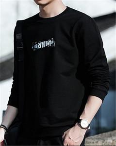 Adolescente ocasional Longitud regular con capucha del cuello de O camisetas de manga larga diseñador de los hombres de impresión de letras sudaderas masculino