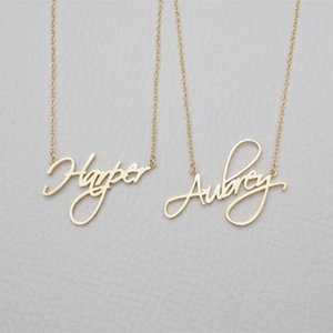 2020 Name Necklace Personalized Gift Customized Pendant Cursive Handwriting Stainless Steel Chain Custom Women Fashion Jewelry