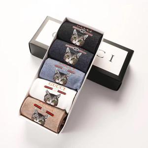 Diseñador de calcetines para hombre del gato del calcetín para mujer 5 pares de calcetines de punto para mujer diseñador de moda de ropa interior de alta calidad Tendencia envío del calcetín