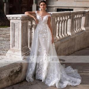 Romantic Sheer Neck Cap Sleeve Wedding Dresses 2020 Gorgeous Lace Appliques Princess Bridal Gowns with Detachable Train