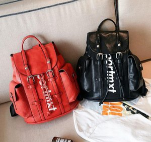 Mode pu rot / schwarz schultasche neue stil student rucksack für frauen männer rucksack mochila escolar schultasche mochila feminina bz