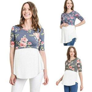 Les femmes enceintes de maternité T-shirt à manches courtes d'été infirmière Patchwork Tops d'allaitement Fleur TShirt