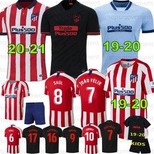 20-21 جديدة # 7 جواو فيليكس لكرة القدم الفانيلة 19-20 الرجال الأطفال أتلتيكو مدريد KOKE شاول CORREA THOMAS LEMAR قمصان Camiseta دي فوتبول 2020