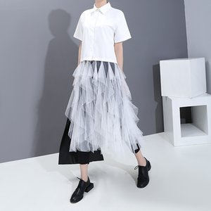 Niche Design Womens Shirt 2020 Spring and Summer New Shirt Womens Wedding Dress Hem Solid Color Fairy Shirt 5940