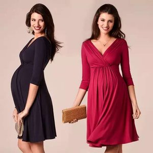 Stillen Kleider Umstandsmode für pregant Frauen Kleidung fester V-Ausschnitt Schwangerschaft Kleider Mutter Zu Abendkleid2