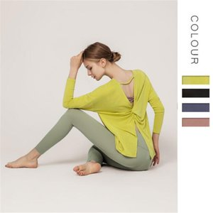 Women's new split yoga clothes tops girls new long-sleeved light weight elastic shirts sports running fashion dancing top shirts