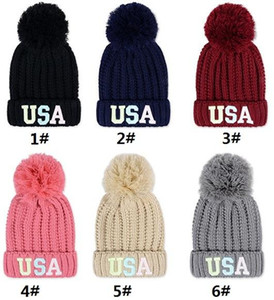 Fashion lady warm acrylic ball winter hat with 3D fluorescent USA embroidery outdoor knitted beanies women crochet hat b528