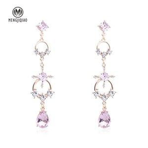MENGJIQIAO Korean New Elegant Square Water Drop Crystal Long Earrings For Women Rhinestone Geometric Circle Dangle Pendient