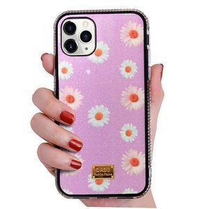 Flower Rhinestone Glitter Phone Case para iPhone 12 11 Pro X XR XS MAX 8 7 6 PLUS SE 2020 Diamante Capa Caso Capa Nova Moda Luxo Bling