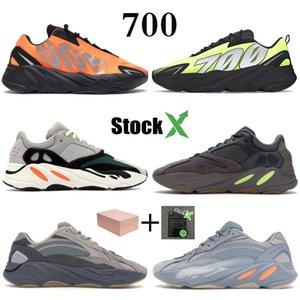 Reflectante de color naranja Tie-dye corredor de la onda 700 Kanye carbono trullo Imán azul fija Zapatos Gris Negro Desiger estático mujeres de los hombres zapatillas de deporte corrientes