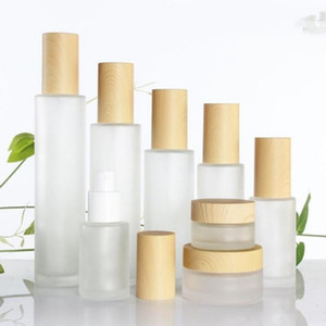 30ml 40ml 60ml 80ml 100ml Frosted Glass Cosmetic Cream Jar Bottle Face Cream Pot Lotion Pump Bottle with Plastic Imitation Bamboo Lids