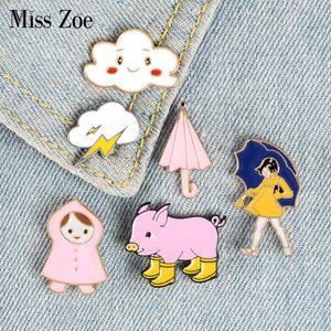 Walking in the Rain Enamel Pins Clouds Girl Umbrella Rainboots Badge Custom Brooch Bag Clothes Lapel Pin Funny Animal Jewelry