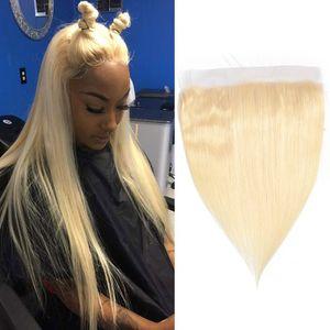 Индийское ухо 9О Кружево Фронтального ушного 13X4 фронтальных шелковистого прямой 13X4 Кружево лобные младенца Продукты волосы Straight Top Closure 613 # Blonde