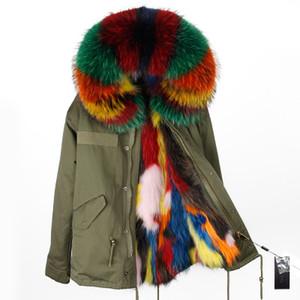 Lüks Lavish çok renkli rakun kürk trim Maomaokong Marka çok renkli tilki kürk astarlı ordu yeşil tuval mini parka tilki kürk ceketler