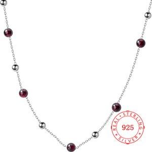 Kadınlar Bildirimi Kolye Choker için% 100 Gerçek 925 Gümüş Güzel Takı Kırmızı Garnet Taş Boncuk Zincir Kolye