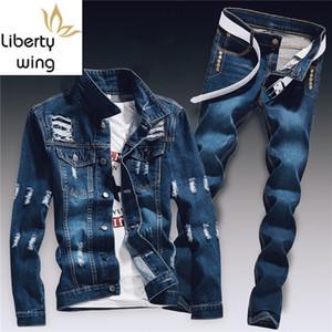 Bahar Erkek Denim İki Parçalı Set Delik Yırtık Slim Fit Ceket Kot Setleri Erkek Rahat Vintage Ropa Hombre Kargo Suit Streetwear