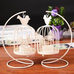 2017 Hanging Design Pattern borboleta Branco Vintage metal Titular Lanterna Candlestick Casamento Casa Decor Bird Cage Vela