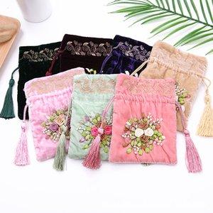 13x16cm Regali con coulisse Borse Fiori Ricami Gioielli Sacchetti Sacchetto di cotone Donna Confezione di moda Sacchetto Decor di nappa