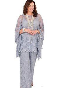 Spitze Mutter der Brauthose Anzüge 2020 Lange Ärmel Drei Stücke Silbergrau Formale Frauen Plus Größe Bräutigam Mutter Kleider für Hochzeit