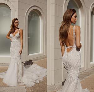 Pallas Couture vestidos de boda de la sirena de 2020 Perlas de lentejuelas correas espaguetis encaje Vestidos de novia Boho espalda abierta barrer de tren vestido de novia de la playa