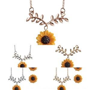 핫 펜던트 액세서리 목걸이 판매 창조적 인 새로운 패션 해바라기 목걸이 잎 꽃 펜던트 초커 세트 액세서리