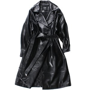2020 Women Sheepskin Coats Long Black High Waist Belt Office Ladies Plus Szie Autumn Winter Genuine Leather Trench Coats Women