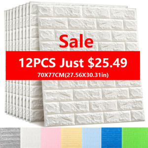 Adesivi murali 3D Decorazioni per camera da letto in mattoni imitazione Carta da parati autoadesiva impermeabile per soggiorno Cucina TV Sfondo Decor70 * 77