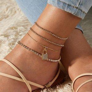 4Pcs Set Shiny Rhinestone Lock Pendant Anklet Bracelet Set Bling Crystal Chain Barefoot Sandals Foot Beach Jewelry for Women