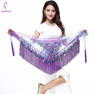 Donne Belly Dance Costume Belly Dance Hip Scarf Belt Accessori Paillettes Tassel Triangolo Wrap Danza Catena Vita