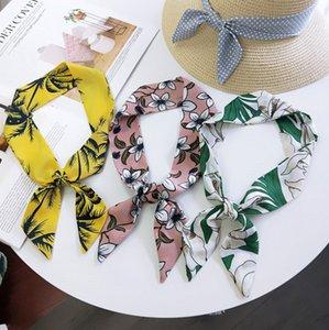 Chicas gasa cinta scrunchie bufanda para el cabello estampado de lunares florales con cordones Arcos princesa titular de cola de caballo para mujeres diademas F7796