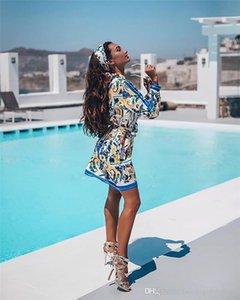 Floral Imprimer Womens Robes Casual Mode simple boutonnage Lapel Neck femmes Designer Shirt Robes Femmes d'été Mulit style Vêtements 9CXE