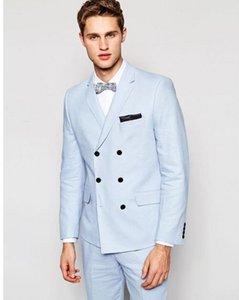 Мода Light Blue Men Wedding Tuxedos двубортный Groom Tuxedos Отлично Мужчины Blazer 2 шт костюм выпускного вечера / смокинг (куртка + брюки + Tie) 7