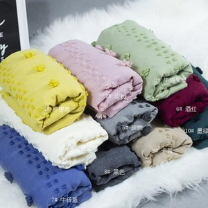 Gled cotton scarf female autumn and winter Korean INS ball pure color plain shawl student gift