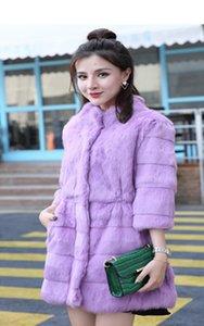 -Jinnuo ENCANTADOR auténtica real del abrigo de pieles de conejo natural piel de las mujeres de la chaqueta femenina prendas de vestir exteriores del sobretodo más el tamaño de envío JN001 SH190930
