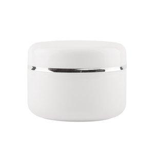 20pcs / lot 250g collar de plata blanco Envase cosmético Plástico Crema Tarro, Vacío Crema de plástico Reuse Container Con Tapas