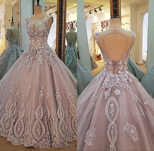 Real Pictures Jewel Neck Sleeveless Appliqued Lace 3D Floral Quinceanera Dresses Lace up Plus Size Sweet 16 Evening Gowns BC2149