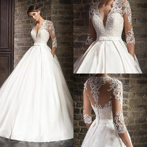 Vintage White Applique Lace Wedding Dresses With 3 4 Long Sleeves Sexy Illusion Deep V-neck Bridal Gowns Simple A-line Wed Dress Wed