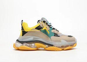 Пары Тройной S ярко-красный желтый Радуга дно высота Дизайнерская обувь резиновые кроссовки Тройной S Пары платформы Мужчины Женщины Daddy обувь
