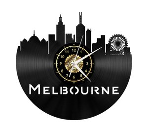 Melbourne Vinyl Record Wall Clock Home Decor Handmade Art Personality Gift (Size: 12 inches, Color: Black)