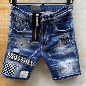 D2 marca corto Jean hombres verano motocicleta Jeans moda Retro Slim Shorts Skinny Jeans para hombres Casual #5412 Hip Hop agujeros pantalones de mezclilla