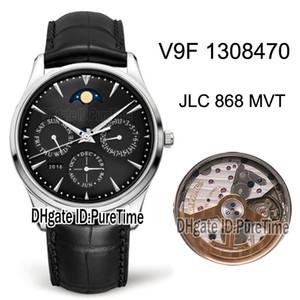 V9F Master Ultra Ince Perpetual Takvim 1308470 JLC 868 Otomatik Erkek İzle Çelik Kılıf Siyah Arama Ay Faz Deri En İyi Edition Puretime