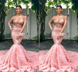 Pink Maniche lunghe Black Girls Prom Dresses 2019 Mermaid Formal Pageant Holidays Wear Graduazione Evening Party Gown Custom Made Plus Size