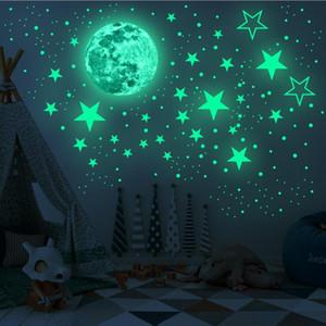 Brillan en la oscuridad pegatinas de pared Estrellas 435pcs adhesiva y las estrellas brillantes y realistas Luna Llena por un cielo estrellado Brillante Decoración para Niños