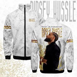 LUCKYFRIDAY Nipsey Hussle Menssommerjacke Herren Zipper Street Kragen Art und Weise 3D-Standplatz Lässige Kleidung Print Hip-Hop-Jacken